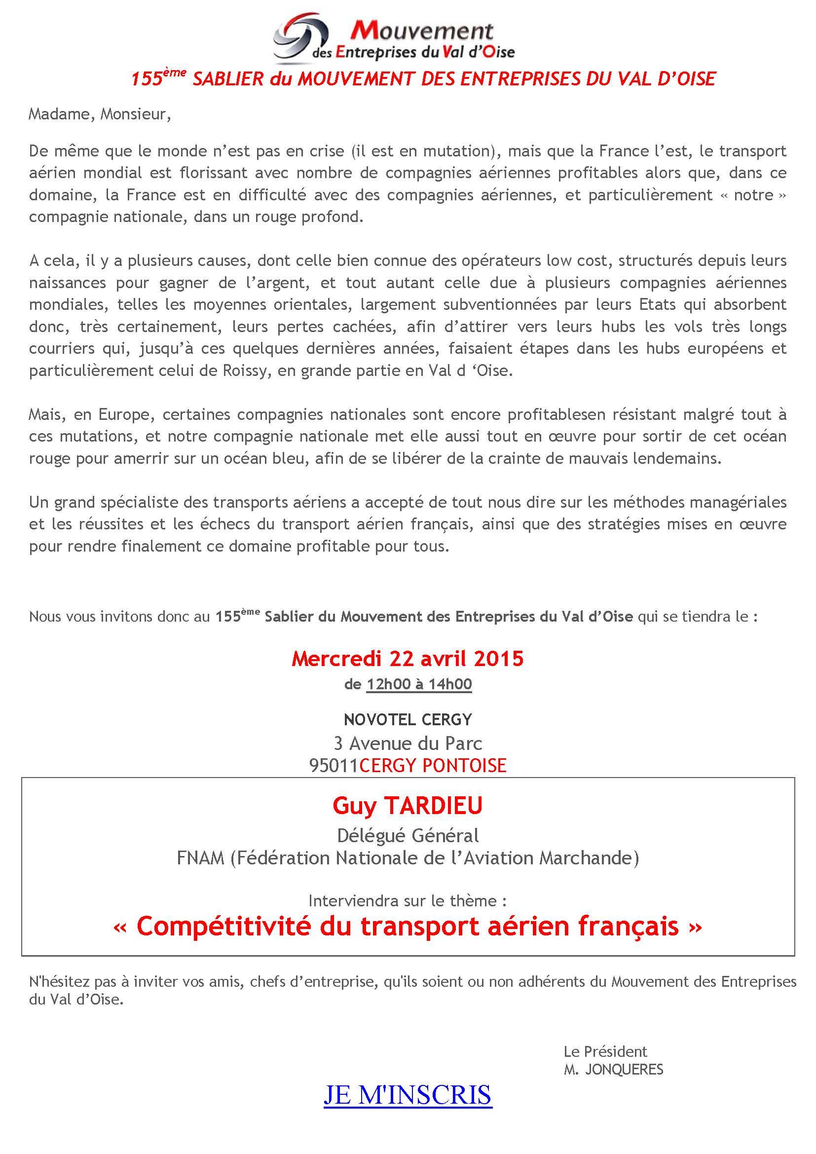 Invitation sablier avril 2015