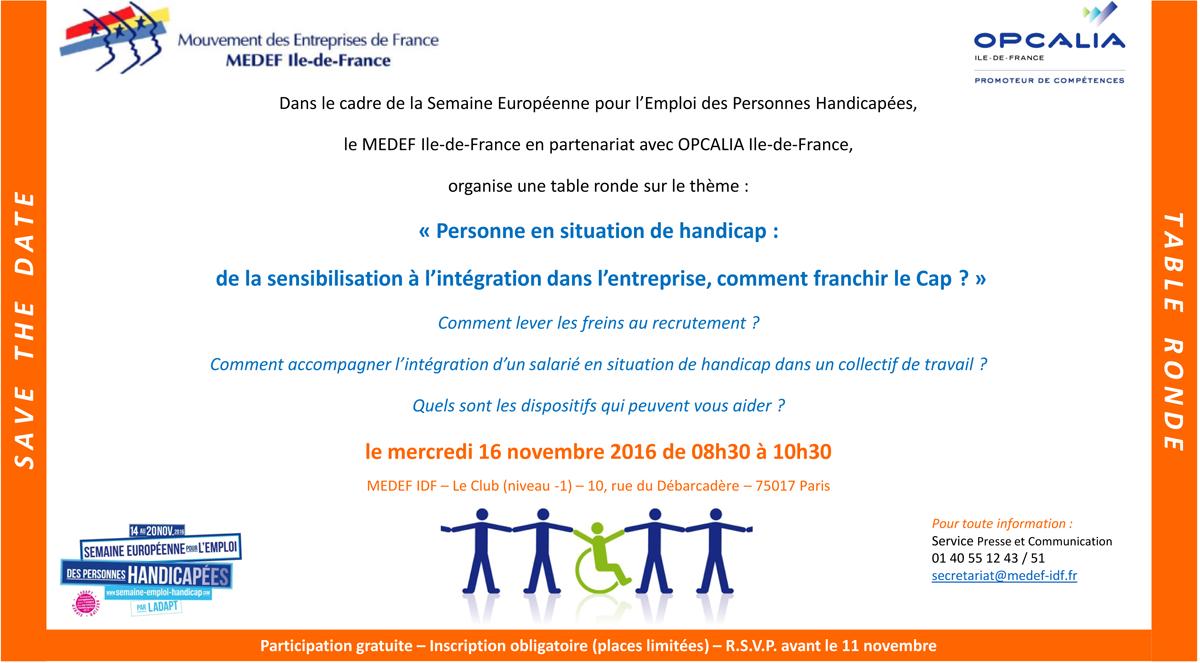 Medef ile de france inscription en ligne table ronde sur le handicap 16 novembre 2016 de - Comment mettre la table en france ...
